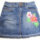 GIRLS GUESS DISTRESSED BLUE DENIM FLOWER MINI SKIRT 12