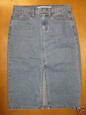 Long Front Slit GAP Denim Jean Skirt Size 1