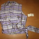 NWT MELROSE STUDIO Silk Plaid Wrap Shirt Top Small S