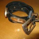 "Vintage BRIGHTON Black Leather Belt 28""-30"" Waist"