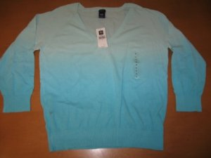 NWT WOMENS GAP GAP STRETCH V-NECK LONG SLEEVE SHIRT LG