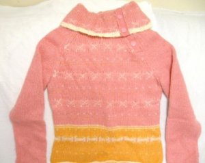 PINK GAP WOOL MOHAIR SIDE SNAP TURTLE NECK SWEATER M