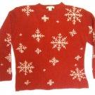 RED WOOL EDDIE BAUER SNOWFLAKE CHRISTMAS SEWATER M