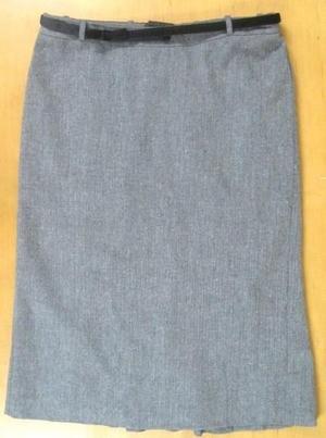 Velvet Bow Belted Gray H&M Lined Tweed Skirt US 10