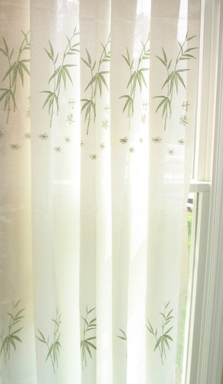 2 embroidered semi-sheer panels, Bamboo