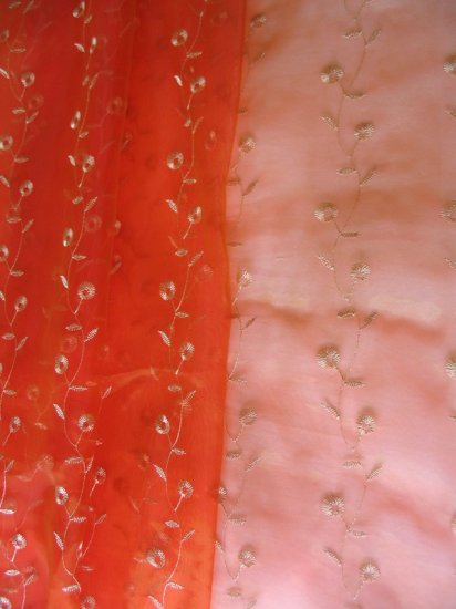 Scroll-embroidered Sheer Panels - red orange