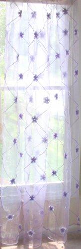Embroidered flower Sheer Panels, light purple