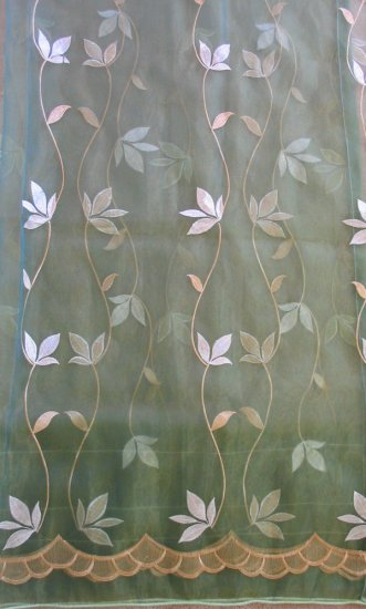 2 embroidered Sheer Panels, Greenish Blue