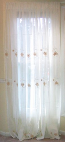 2 embroidered semi-sheer panels - off white