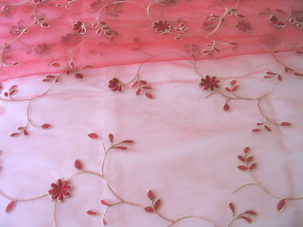 2 embroidered Sheer Panels - Red