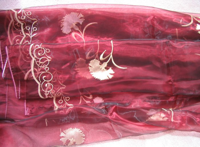 2 embroidered Sheer Panels - Burgandy