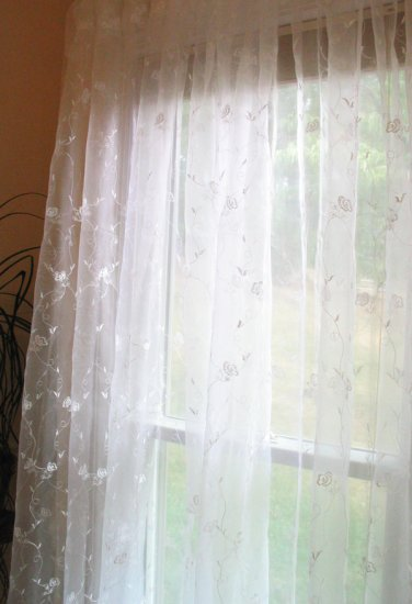 Scroll-embroidered window sheer panels - white