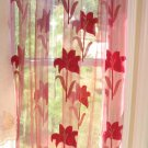Embroidered sheer panels - Burgandy