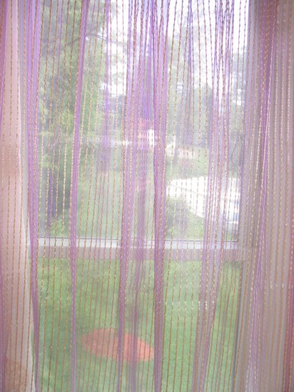 Purple and Gold Stripe Sheer Panels