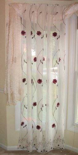 Embroidered semi-sheer panels, burgandy flowers