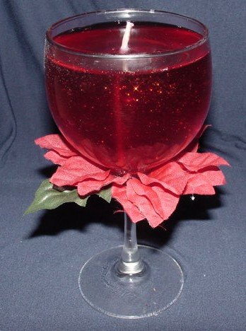 Silk Poinsetta Gel Candle Centerpiece Novelty Christmas Gift