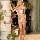 Vanessa Collection Red/White Floral Embroidered Halter Teddy Set One Size