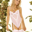 Pink Heart Print Teddiette Sizes S-L