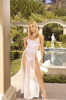 Secret Dreams Collection White/Pink Embellished Gown Sizes S-L