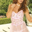 Secret Dreams Collection White/Pink Babydoll Set Sizes 1X-3X