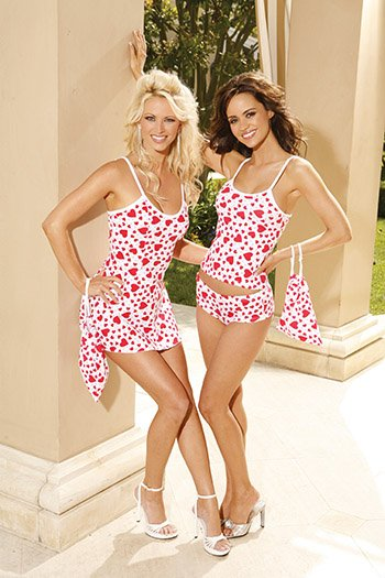 Heart Print Cotton 3 Piece Chemise Set Sizes S-L