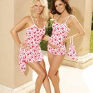 Heart Print Cotton 3 Piece Chemise Set Sizes 1X-3X