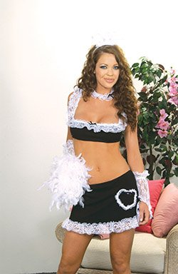 6 Piece Maid Costume Black Sizes S-L