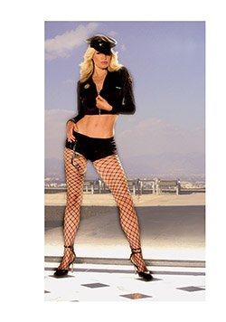 Seductive Police Woman Costume Black Sizes S-L