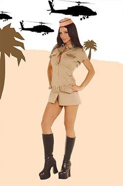 Army Captain Cutie Costume Khaki Sizes S-L