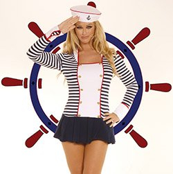 Flirty Sailor Costume Navy/White Queen Size
