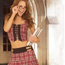Prep School Girl 2 Piece Costume Red Plaid Sizes S-L