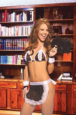 4 Piece Maid Costume with Peek a Boo Bra Black One Size Fits All