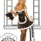 3 Piece Vinyl Maid Costume Black Sizes S-L