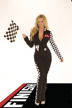 2 Piece Race Car Driver Jumpsuit Costume Black Sizes S-L