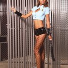 Vinyl Cop 3 Piece Cop Costume Black Sizes S-L