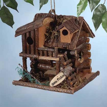 29313 Wood Fishing Cabin Birdhouse