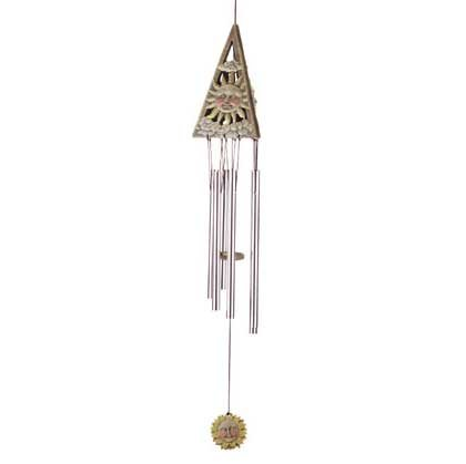 31829 Wood 3-d Sun Triangle Wind Chimes