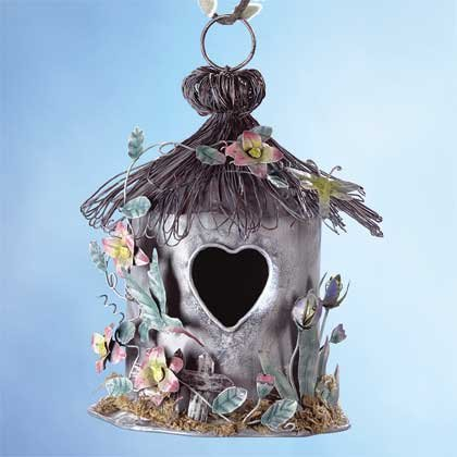 33813 Painted Metal Spring Hut Birdhouse