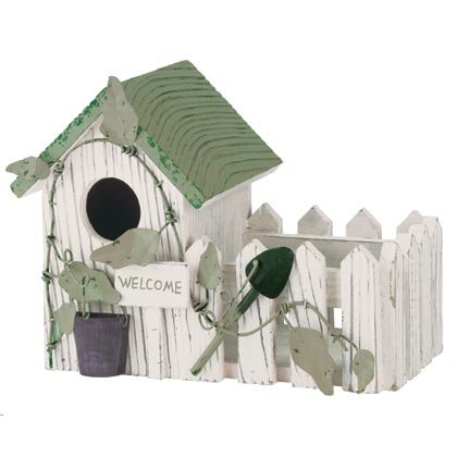 35118 Wood Cottage Birdhouse Planter