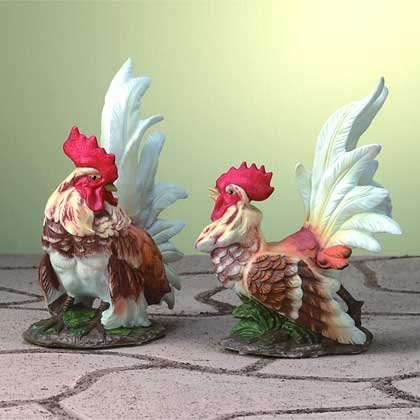 28524 Porcelain Rooster Pair