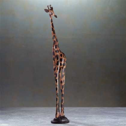 31291 Alabastrite Wood-Carved Look Giraffe