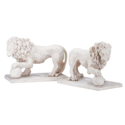 31640 Alabastrite Garden Lion Pair