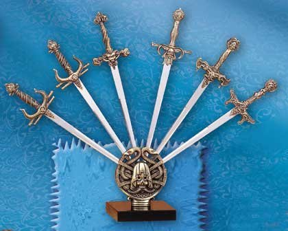 31238 6-Piece Meta Assorted Sword On Display Stand