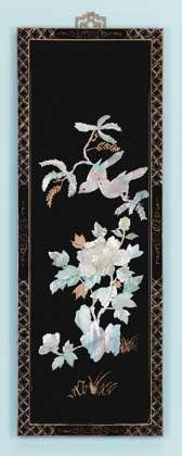 21565 Lacquered Wood Screen With Shell