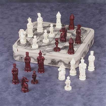 31351 Mandarin Ivory-Like Dragon Chess Set