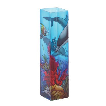 35290 Dolphin Stained Glass Bud Vase