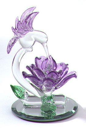 27106 Glass Sculpture Hummingbird With Flower