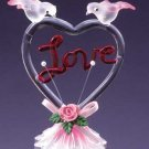 """29220 Glass Sculpture Color """"Love"""" With Heart-Shaped"""