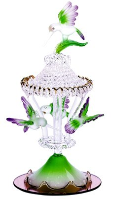 30307 Glass Sculpture Color Hummingbirds Carousel