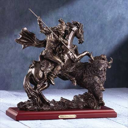 "31060 ""Liberty Bronze"" Buffalo Hunt Sculpture"